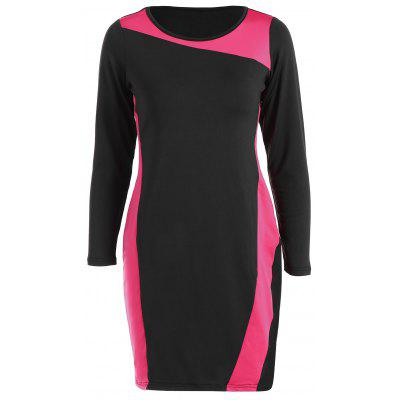 Buy RED Sheath Plus Size Color Block Work Dress for $21.23 in GearBest store