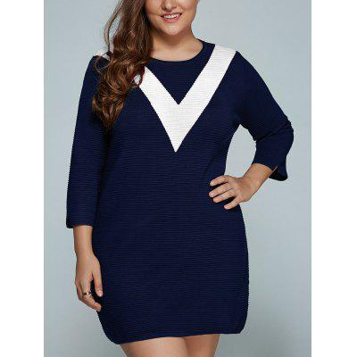 Buy WHITE Plus Size V Shape Block Knit Dress for $40.14 in GearBest store