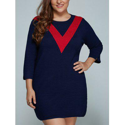 Buy RED Plus Size V Shape Block Knit Dress for $40.14 in GearBest store