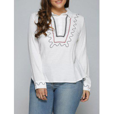 Embroidered Trim White T Shirt