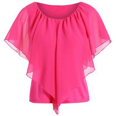 Overlay Chiffon Plus Size Spliced Top