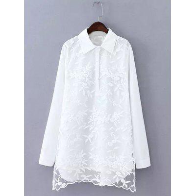 Plus Size Embroidered Long Shirt