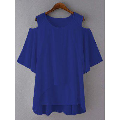 Buy ROYAL BLUE Plus Size Cut Out Layered Chiffon Blouse for $20.73 in GearBest store
