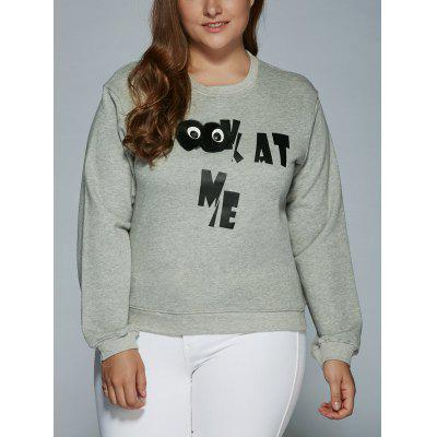 Buy GRAY Kat Me Letter Oversized Sweatshirt with 3D Eyes for $24.89 in GearBest store