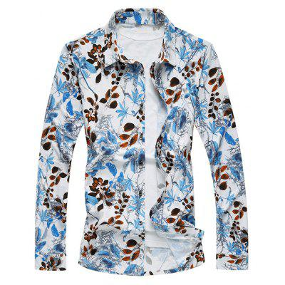 Buy COLORMIX Plus Size 3D Leaves Print Long Sleeve Shirt for $28.16 in GearBest store