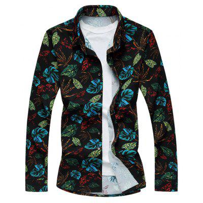 Plus Size 3D Colorful Leaves Print Long Sleeve Shirt