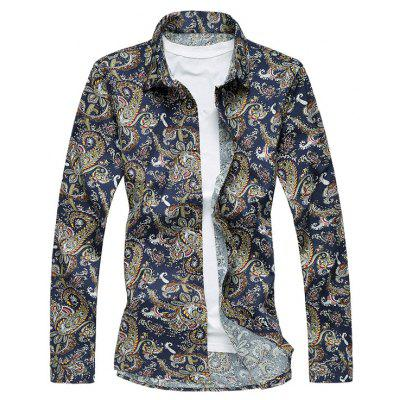 Plus Size 3D Vintage Paisley Print Long Sleeve Shirt