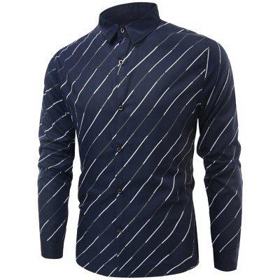 Buy CADETBLUE Long Sleeve Diagonal Striped Shirt for $8.53 in GearBest store