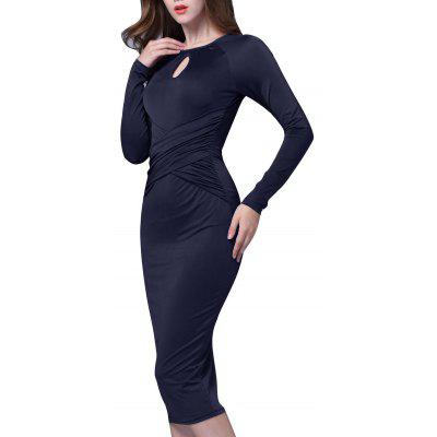 Keyhole Neck Long Sleeve Midi Bodycon Bandage Dress