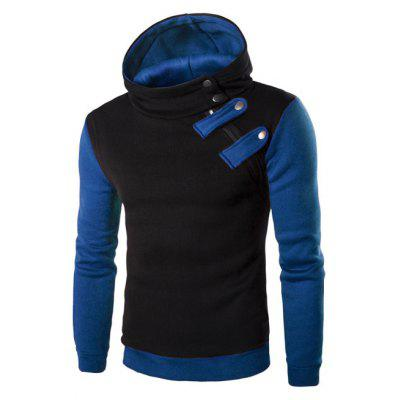 Buy BLUE AND BLACK Inclined Zipper Color Block Hooded Long Sleeves Hoodie For Men for $18.26 in GearBest store