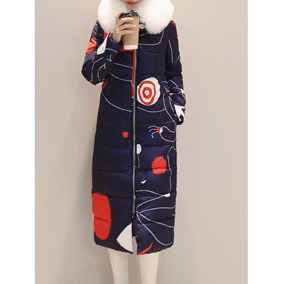 Hooded Patterned Zipped Coat