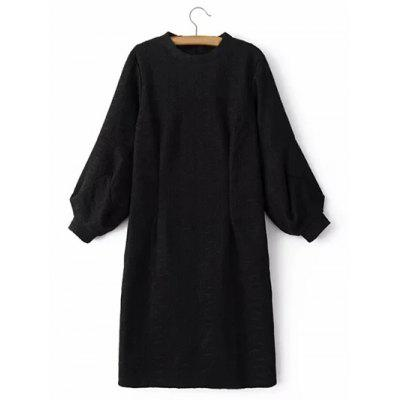 Cable Knitted Lantern Sleeve Slimming Jumper Dress