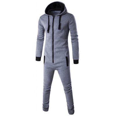 Slim-Fit Zip-Up Color Block Hooded Jumpsuit