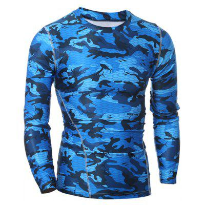 Quick Dry Round Neck Gym Camo T-Shirt