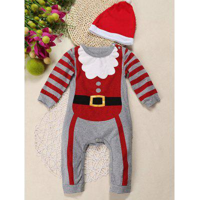 Baby Newborn Toddler Christmas Hat Stripe Bodysuit Romper Jumpsuit