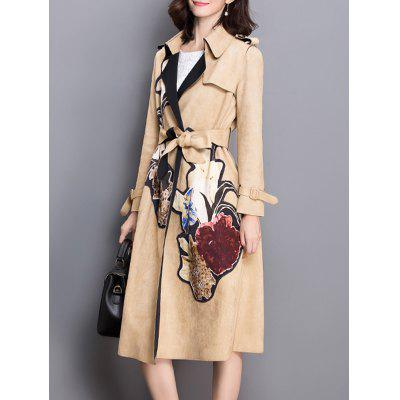 Applique Floral Suede Trench Coat