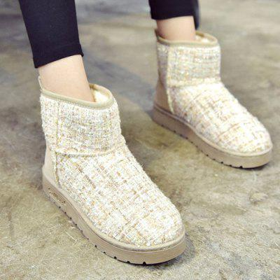 Color Block Splicing Flat Heel Snow Boots