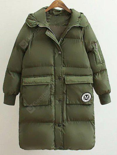 Patched Puffer Coat wtih Hood