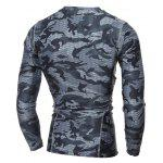 Quick Dry Round Neck Gym Camo T-Shirt - GRAY
