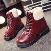 Winter Warm PU Leather Tie Up Ankle Boots - WINE RED