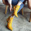 Buy Stiletto Heel Point Toe Buckle Cross Strap Suede Ankle Boots 38 YELLOW