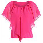 Overlay Chiffon Plus Size Spliced Top - ROSE RED