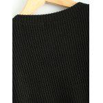 Plus Size Irregular Sweater Dress with Front Pockets - BLACK