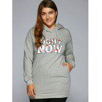 cheap Right Now Print Long Pullover Hoodie