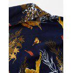 Plus Size 3D Birds and Leaves Print Long Sleeve Shirt - COLORMIX