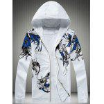 Plus Size Hooded Bird and Florals Imprimer Zip-Up Hoodie - BLANC