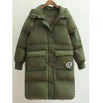 Patched Puffer Coat wtih Hood - ARMY GREEN