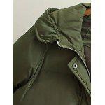 Single-breasted Patch Spliced ​​Manteau long rembourré - VERT ARMéE
