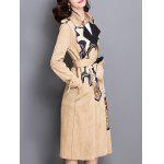 Floral Applique Suede Trench Coat for sale