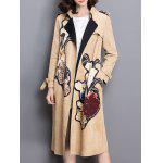 cheap Floral Applique Suede Trench Coat