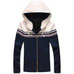 Plus Size Color Block Jacquard Splicing Hooded Zip-Up Jacket - BLEU CADETTE