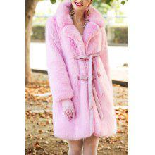 Tied Faux Fur Coat