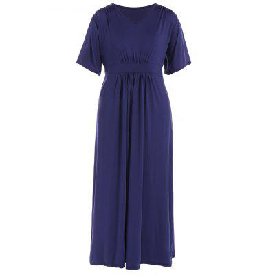 Buy PURPLISH BLUE Ruched V Neck Maxi Prom Dress for $25.16 in GearBest store