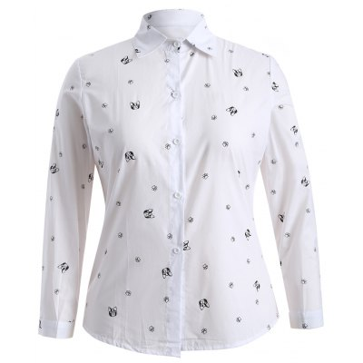 Plus Size Puppy Print Buttoned Shirt