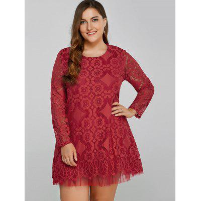 Openwork Lace A-Line Dress