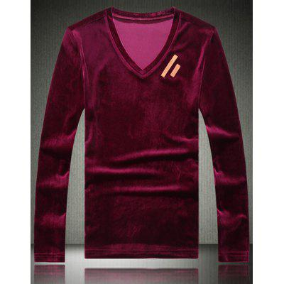Plus Size Velvet Applique V-Neck Long Sleeve T-Shirt