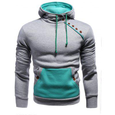 Oblique Buttons Spliced Hoodie