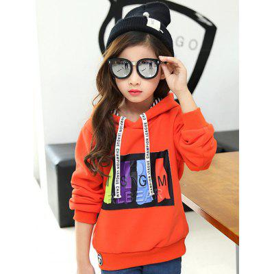 Long Sleeve Printed Orange Hoodie