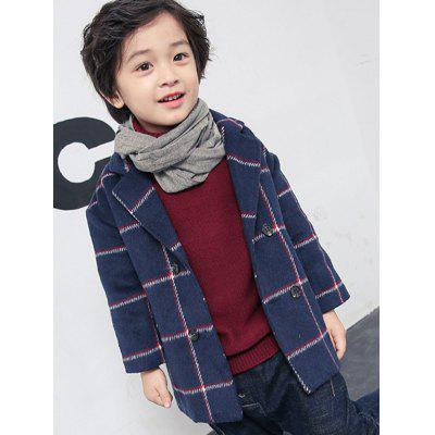 Boys Double-Breasted Plaid Wool Coat