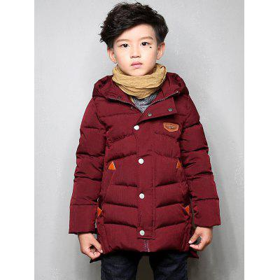 Snap Buttoned Hooded Winter Warm Padded Coat