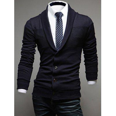 Buy CADETBLUE Shawl Collar Long Sleeve Button Up Cardigan for $22.82 in GearBest store