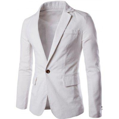 Buy WHITE Stand Collar One Button Design Slimming Cotton+Linen Blazer for $25.74 in GearBest store