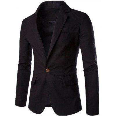 Buy BLACK Stand Collar One Button Design Slimming Cotton+Linen Blazer for $25.74 in GearBest store