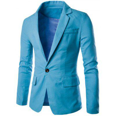 Buy LIGHT BLUE Stand Collar One Button Design Slimming Cotton+Linen Blazer for $25.74 in GearBest store