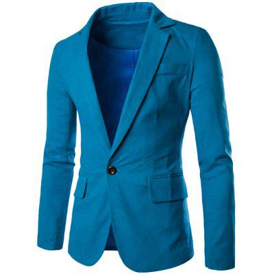 Buy MEDIUM BLUE Stand Collar One Button Design Slimming Cotton+Linen Blazer for $25.74 in GearBest store