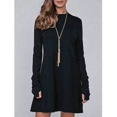 Buy BLACK M High Neck Long Sleeve Casual Jumper Dress for $17.78 in GearBest store